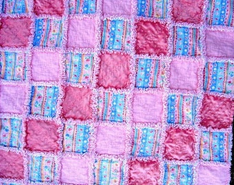 Raggy Crib Baby Quilt  Minky and Pink Flannel Hearts and Flowers - by SEW FUN QUILTS