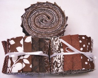 Quilt Fabrics Jelly Roll - Coffee Brown fabric strips - Time Saver Quilt Kit by SEW FUN QUILTS