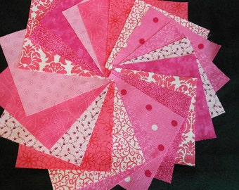Pink Quilt  Fabric Charm Squares -  Time Saver Quilt Kit - by SEWFUNQUILTS