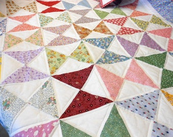 Quilt Kit 30's Fabrics - Baby Quilt  Hourglass Blocks - Ready to Sew - Time Saver Quilt Kit - Easy, Fast