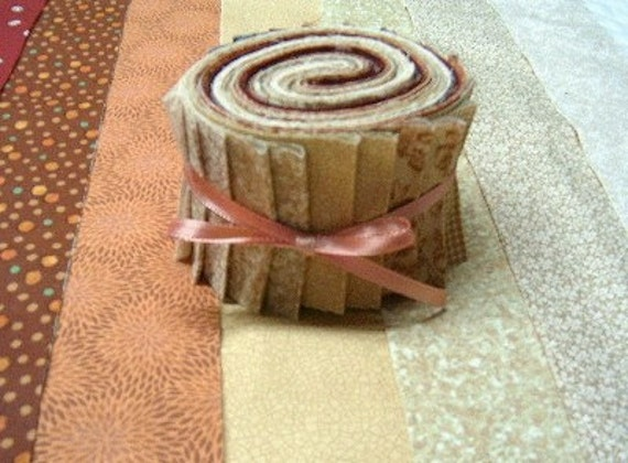 Mocha Latte Quilt Strips - 2 1/2 inch wide brown quilt fabric strips jelly roll - SEW FUN QUILTS Time Saver Kit