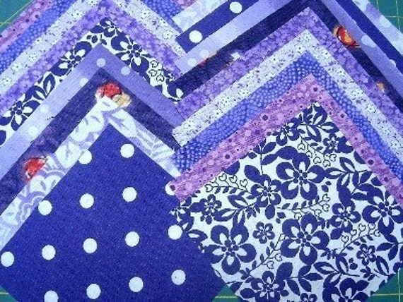 40 4x4 QUILT SQUARES - Purple Cotton Quilt Fabrics - SEW FUN QUILTS Time Saver Kit - Pre-Cut Charm Squares - Cotton
