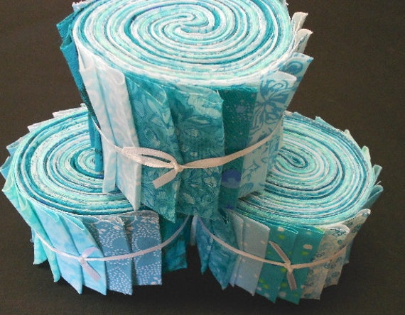 Aqua Teal Quilt Fabric Strips Jelly Roll Fabric Strips