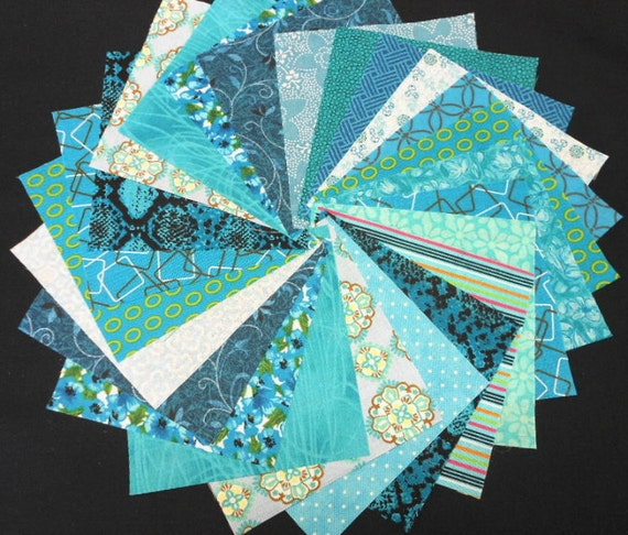 Turquoise Quilt Fabric Charm Squares - Turquoise Aqua Teal - SEW FUN QUILTS Time Saver Quilt Kit