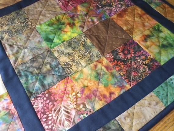 Garden Batik Table Runner Quilt Wall Hanging  by SEW FUN QUILTS