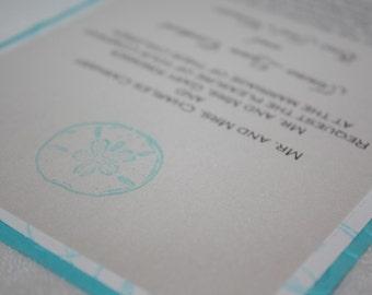 Aqua Swirls and Sand Dollar Beach Wedding Invitation
