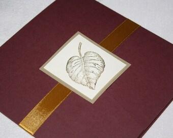 Burgundy and Gold Leaf Pocketfold Fall Wedding Invitation