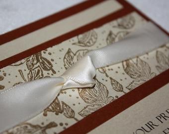 Ivory and Copper Leaf Fall Wedding Invitation