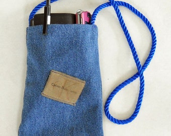 Denim Purse with Recycled Calvin Klein Patch Small