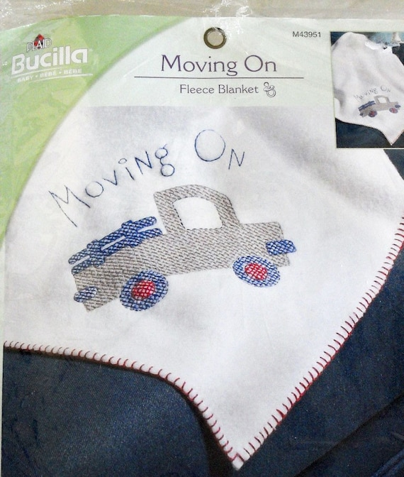 on sale fleece baby blanket cross stitch kit movin on by. Black Bedroom Furniture Sets. Home Design Ideas