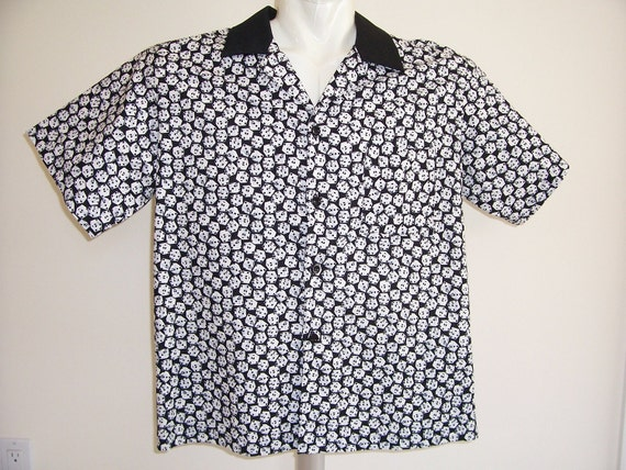 Men's Shirt Medium Hawaiian Style  Black and White Dice