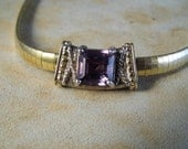 Vintage Omega Necklace with Amethyst Slide