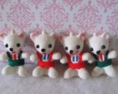 Vintage Christmas Bear Ornaments - Set of 4