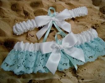 Aqua Green Lace and White Satin Wedding Garter Bridal Set