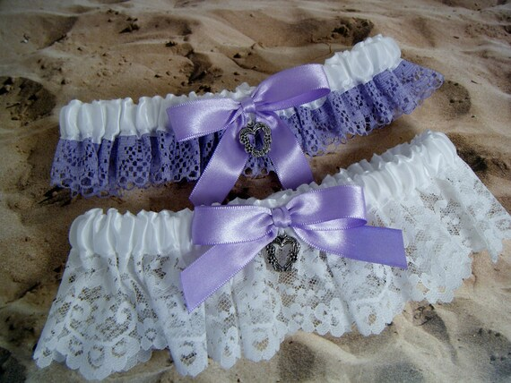 Lavender Purple Lace White Ribbon Heart Wedding Bridal Garter Set