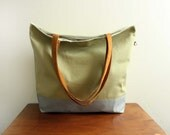 Market Tote in Pear cotton twill--Save 10% w/ Code SAVE10 at checkout-- Ready to Ship--