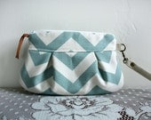 Mint / Natural Chevron Wristlet Pouch Clutch Nautical stripe SMALL  --Made to Order--