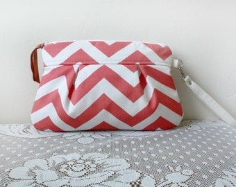 Coral Chevron Wristlet / Pouch/ Clutch// Nautical stripe //Coral Ivory  Stripe --MADE TO ORDER--