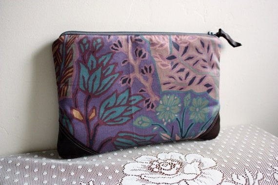 Forest print cotton clutch w/ leather trim--Ready to ship--