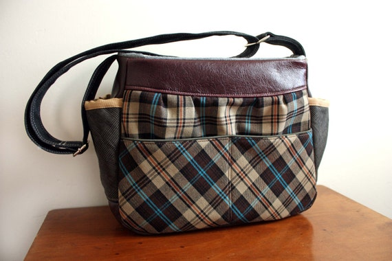 DSLR Unisex Camera bag/ Tote in Cotton Plaid/Linen w/ Vegan leather trim-- Ready to Ship--