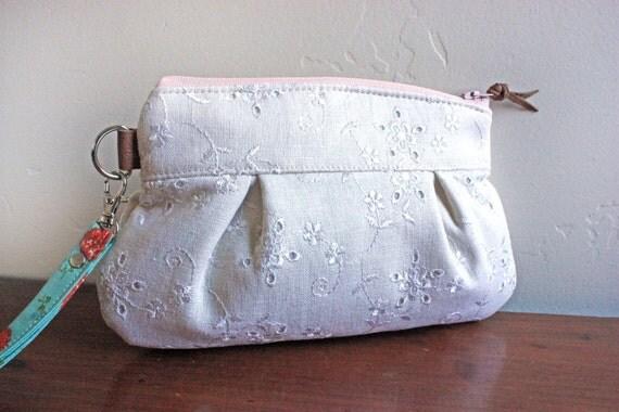 Save 10% w/ Promo Code--Mini-Kitt Wristlet/ Pouch/ Makeup bag/ Wallet in Cream Eyelet cotton--Ready to Ship--