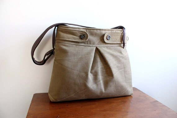 Nora Tote/Handbag in Distressed Taupe Canvas--Ready to Ship---Save 10% w/ code SAVE10