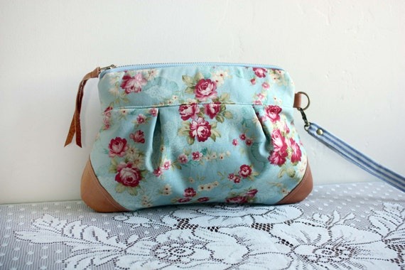 Save 10% w/ promo code--Kitt Wristlet/ Pouch/ Makeup bag/ Wallet in Roses & Lace --Ready to Ship--