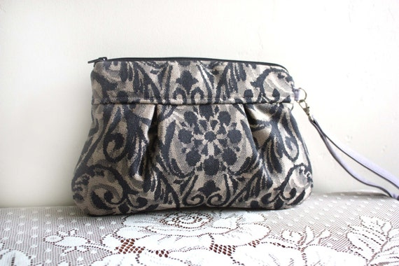 Kitt Wristlet in Blush/Grey Damask Upholstery Weight Cotton---Ready to Ship--Save 10% w/ code SAVE10