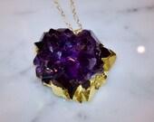 Amethyst Quartz Druzy Necklace in Gold
