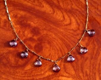 Eliza Mystic Blue Quartz Multi Pear Drop Necklace