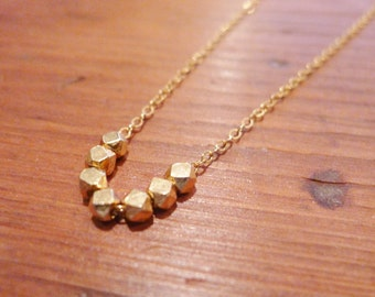 Gold Nugget Beaded Necklace