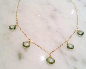 Green Quartz Drop Necklace in Gold