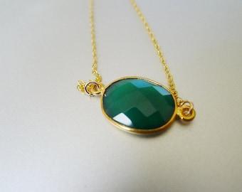 Faceted Bezel Set Green Onyx in 22k Gold Vermeil Necklace