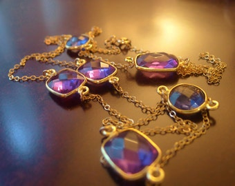 Multiple Gemstone Long Necklace, Purple Quartz, Bridesmaid Jewelry