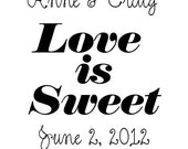 Custom Love is Sweet Rubber Stamp