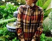 Earth-tone Plaid Flannel Button-Down Jacket