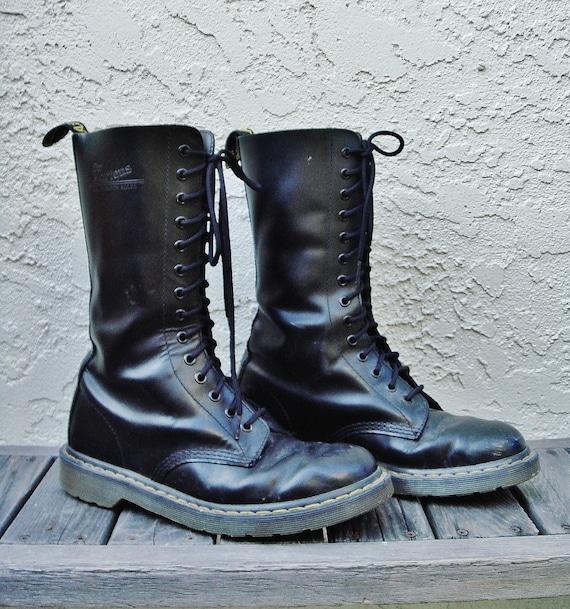 Original Doc Martens 14 hole Combat Boots Black Leather size