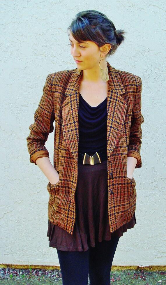 Vintage Dana Buchman Long Plaid Blazer Brown Black and Red size 6