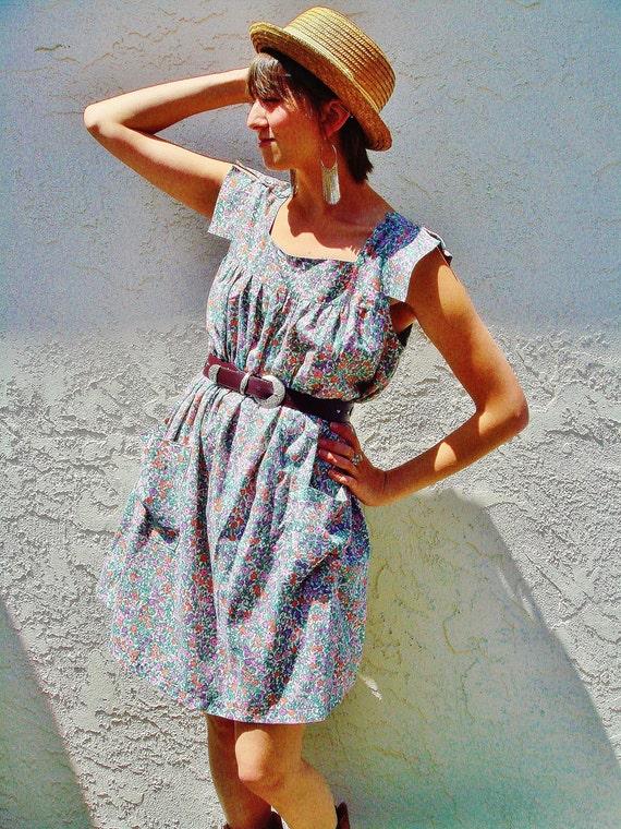 Vintage Floral Baby Doll Western Summer Dress size medium