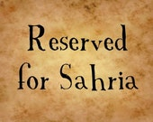 Reserved Listing for Sahria