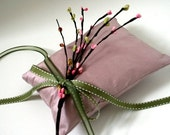 30% OFF CLOSEOUT Sprig Series - Pink and Green Silk Ring Bearer Pillow for Spring Wedding