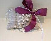 CLOSEOUT Linen Ring Pillow with Pearl Sprig and Purple Ribbon