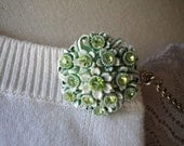 Sweetest Little Sparkling Green Floral Sweater Clip