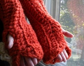 SALE Pumpkin Spice Latte.  Extra Chunky Comfy Cozy Fingerless Gloves/ Arm Warmers