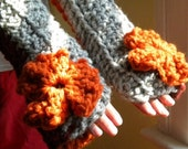 Autumn Harvest Color Blocked Fingerles Gloves/Arm Warmers in Pumpkin, Marble Gray, and Cinnamon Spice Red