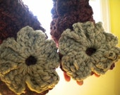 SALE Marble Gray and Fig Color Blocked Extra Chunky Comfy Cozy Fingerless Gloves/ Arm Warmers