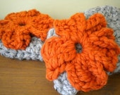 Marble Gray and Pumpkin Orange  Extra Chunky Comfy Cozy Fingerless Gloves/ Arm Warmers
