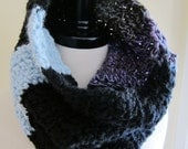 FREE SHIPPING. Black, Blue and Variegated Purple Striped Tube Scarf