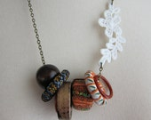 Boho Loops with Cotton Lace Applique Necklace