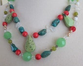 RESERVED FOR ANGIE. Green and Blue Turquoise Double Strand Necklace